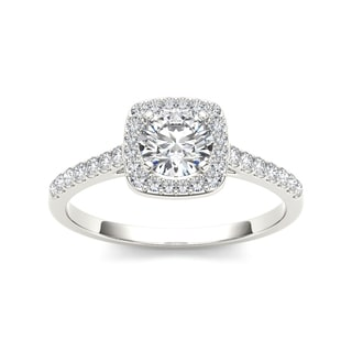 De Couer 14k White Gold 1ct TDW Diamond Halo Engagement Ring White H I