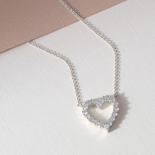 De Couer 14k White Gold 1/2ct TDW Diamond Heart Necklace (H-I, I2)