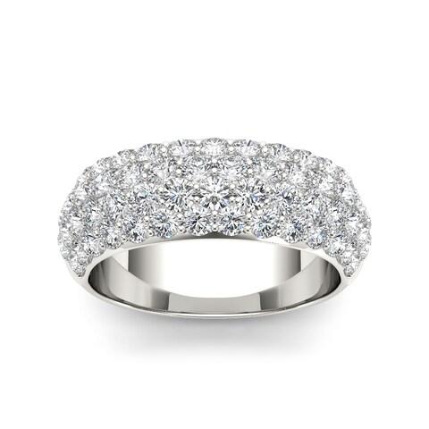 De Couer 14k White Gold 2ct TDW Diamond Wedding Band - White H-I