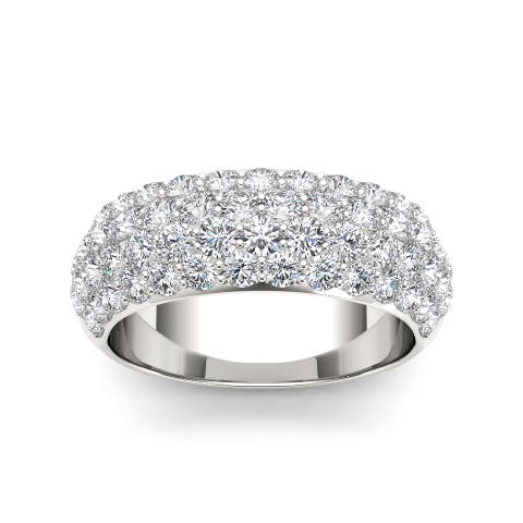 De Couer IGI Certified 14k White Gold 2ct TDW Diamond Wedding Anniversary Band