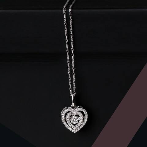 De Couer 10k White Gold 1/5ct TDW Diamond Heartbeat Necklace - White H-I