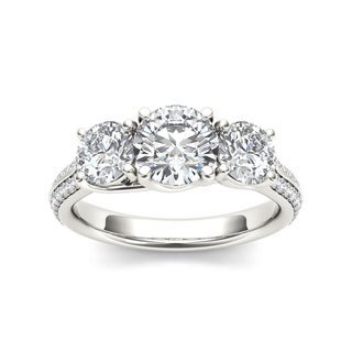 De Couer 14k White Gold 2 1/4ct TDW Diamond Three-Stone Engagement Ring - White H-I