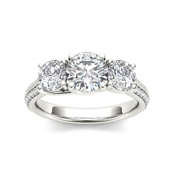 De Couer 14k White Gold 2 1/4ct TDW Diamond Three-Stone Engagement Ring