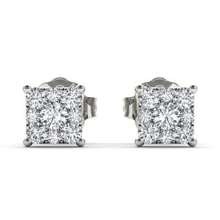 De Couer 10k White Gold 1/2ct TDW Diamond Cluster Earrings