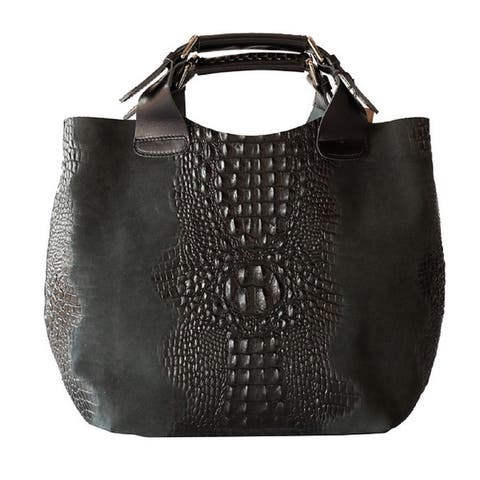 Deleite by Sharo Black Italian Leather Handbag Tote Bag - Large