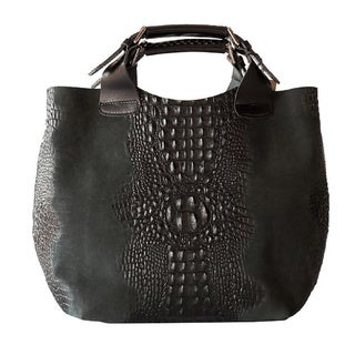 Deleite by Sharo Black Italian Leather Handbag Tote Bag