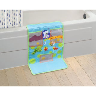 Cushioned Baby Bath Time Blue Kneeling Pad with Toy Pockets (Blue)