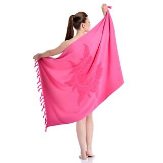 Authentic Pestemal Fouta Jacquard Tuscan Sun Turkish Cotton and Terry Bath/Beach Towel