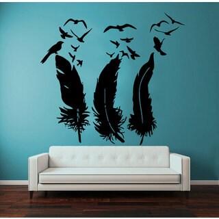 Birds Flying Feathers Nib Vinyl Sticker Wall Art