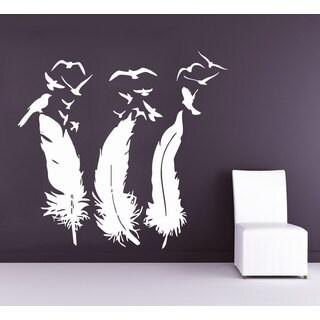 White Birds Flying Feathers Nib Vinyl Sticker Wall Art