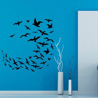 Black Flying Birds Vinyl Sticker Wall Art