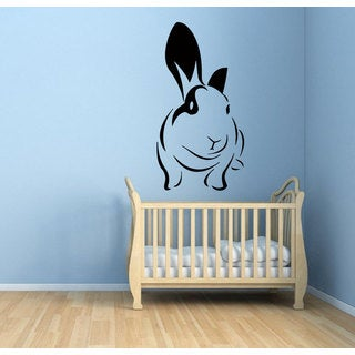 Black Cute Rabbit Vinyl Sticker Wall Art