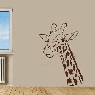 Brown Giraffe Vinyl Sticker Wall Art
