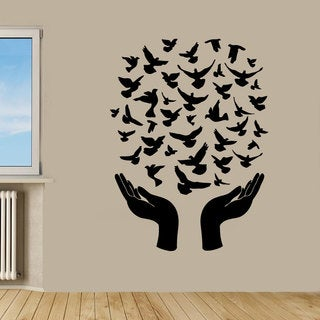 Black Birds Flying From Hands Vinyl Sticker Wall Art