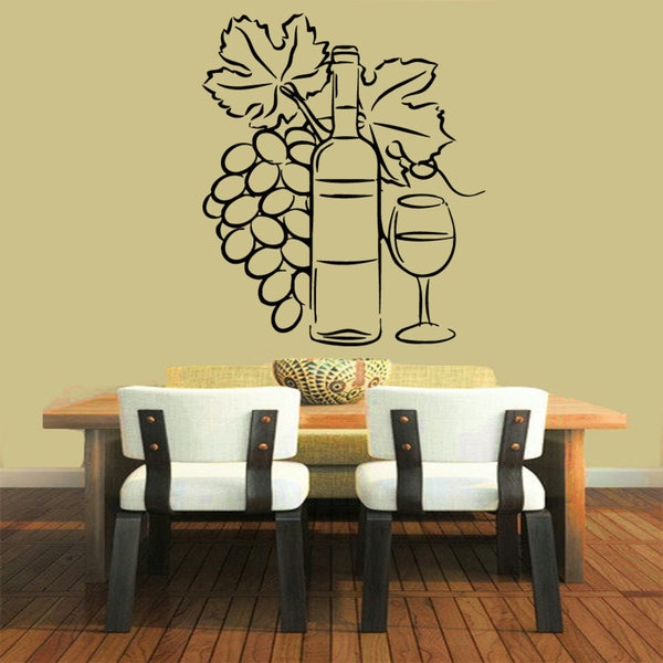 Shop Black Wine Grapes Vinyl Sticker Wall Art Free Shipping On