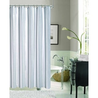 Dainty Home Carlton Fabric Shower Curtain Gray, Silver and White Stripes