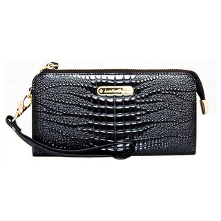 Leatherbay Croc Embossed Accordian Style Clutch