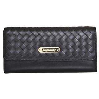 Leatherbay Tri-Fold Clutch with Weaved Flap|https://ak1.ostkcdn.com/images/products/10157177/P17286395.jpg?impolicy=medium