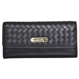 Leatherbay Tri-Fold Clutch with Weaved Flap
