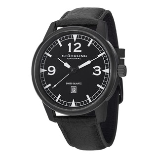 Stuhrling Original Men's Condor Swiss Quartz Leather Strap Watch