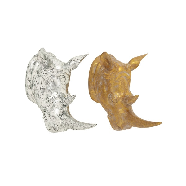 Excellent Rhino Head (Set of 2) - Silver/Gold