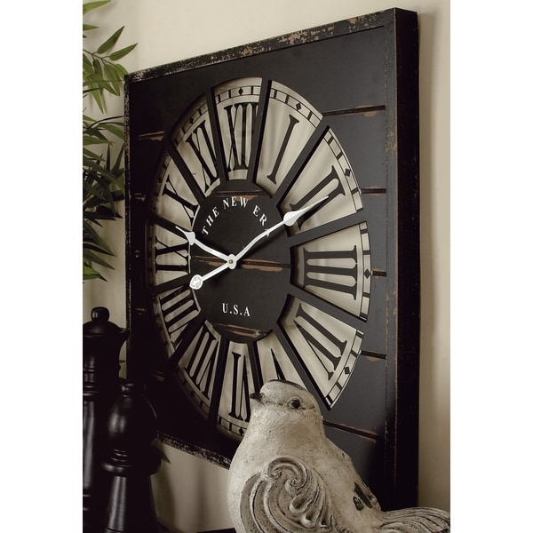 Stunning Wood and Glass 27-inch Wall Clock