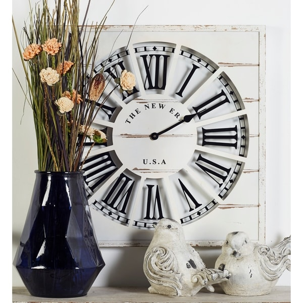 Farmhouse 27 x 27 Inch Slatted Wooden Wall Clock by Studio 350