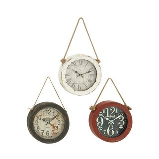 Enthrallingly Styled Metal Wall Clock (Set of 3)