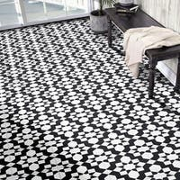 Affos in White and Black Handmade 8x8-in Moroccan Tile (Pack 12)