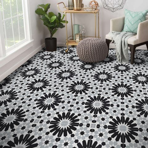Handmade Agdal in Grey and Black Tile, (Morocco)