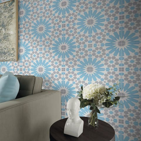 Agdal in Blue and Grey Handmade 8x8-in Moroccan Tile (Pack 12)