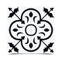 Nador in White and Black Handmade 8x8-in Moroccan Tile (Pack 12)