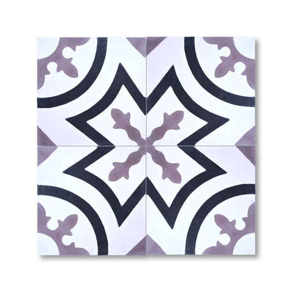 Ozod Black and Purple Handmade Moroccan 8 x 8 inch Cement and Granite Floor or Wall Tile (Case of 12)