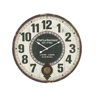 Stunning Wood Metal Round 23-inch Wall Clock