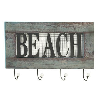 Quirky Wood Metal Beach Wall Hook