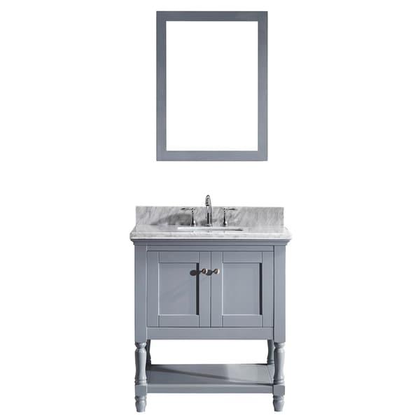 Julianna 32-in Grey Single Vanity White Marble Top Mirror