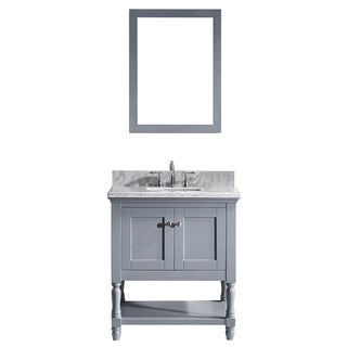 Julianna 32-inch Grey Single Vanity White Marble Top Mirror (2 options available)