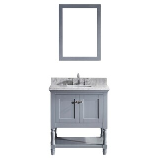 Julianna 32-inch Grey Single Vanity White Marble Top Mirror