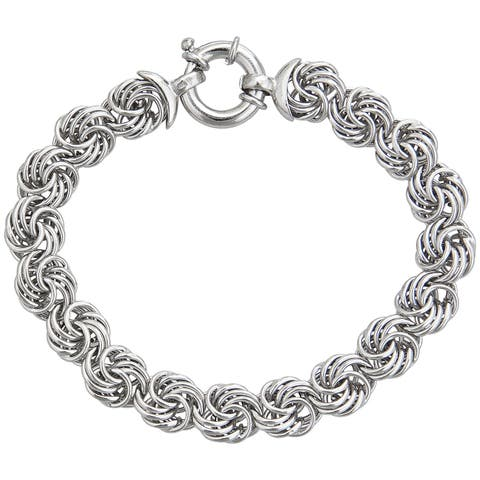 Decadence Sterling Silver Italian Rosetta Bracelet