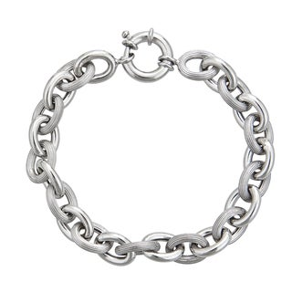 Decadence Sterling Silver Italian 8mm Hollow Links Bracelet