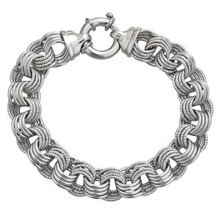 Decadence Sterling Silver Italian 12mm Links Bracelet