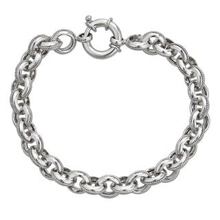Decadence Sterling Silver 8.5mm Italian Links Bracelet