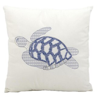 Mina Victory Indoor/Outdoor Sea Turtle White Throw Pillow (18-inch x 18-inch) by Nourison