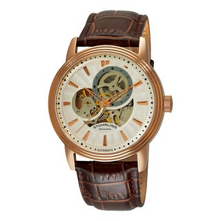 Stuhrling Original Men's Delphi Acheron Automatic Leather Strap Watch