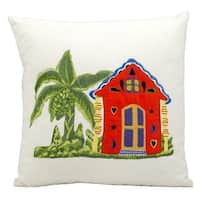 Mina Victory Indoor/Outdoor Caribbean Home White Throw Pillowby Nourison (18-Inch X 18-Inch)