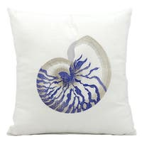 Mina Victory Indoor/Outdoor Blue Conch White Throw Pillowby Nourison (18-Inch X 18-Inch)