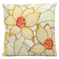Mina Victory Indoor/Outdoor Two Sunflowers White Throw Pillowby Nourison (18-Inch X 18-Inch)