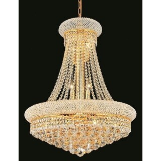 Elegant Lighting Gold 24-inch Royal-cut Crystal Clear Hanging 14-light Chandelier