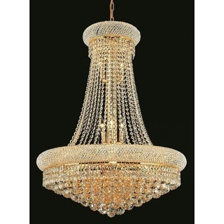 Elegant Lighting Gold 28-inch Royal-cut Crystal Clear Hanging 14-light Chandelier