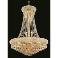 Elegant Lighting Gold 28-inch Royal-cut Crystal Clear Hanging 14-light Chandelier